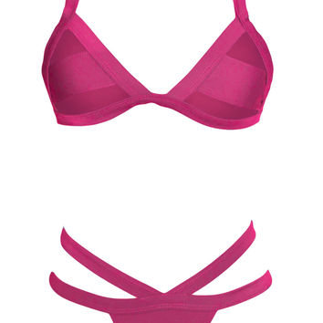 Pink Cut-Out Triangle Bikini with Sheer Mesh Accent