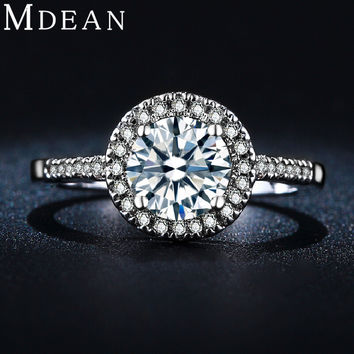 MDEAN round luxury wedding rings vintage engagement bague white gold filled accessories jewelry for women MSR038