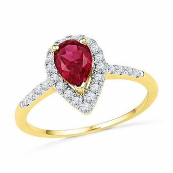 10kt Yellow Gold Women's Pear Lab-Created Ruby Solitaire Diamond Frame  Ring 1-1/5 Cttw - FREE Shipping (US/CAN)