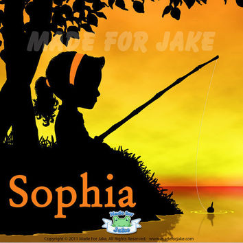 Fishing Girl Sunset Silhouette Personalized 8x10 by Madeforjake