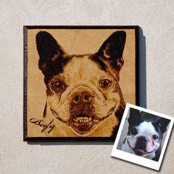 Custom pet woodburned portrait