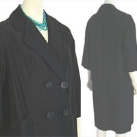 Womans Black Vintage 1960s Coat