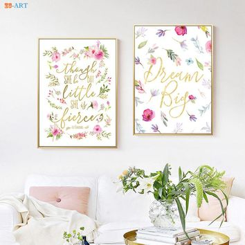 Pink Blush Poster Watercolor Flowers Canvas Painting Quotes Prints Colorful Wall Art Girls Room  Boho Nursery Art Wall Decor