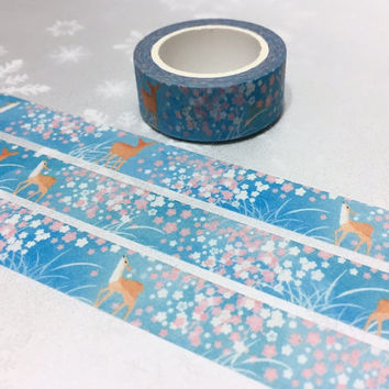 cute deer washi tape 7M little deer pink flower fairy tale forest animal masking tape deer pattern little deer sticker tape deer decor gift