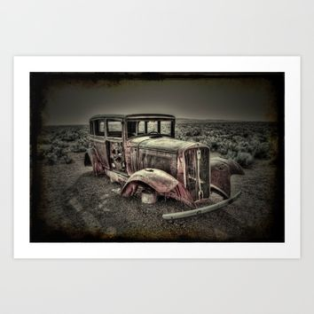 Car In The Desert Vintage Look Art Print by Claude Gariepy