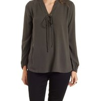 Green Lace-Up Long Sleeve Top by Charlotte Russe