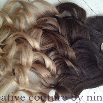 "Ombre Hair Extensions//DipDye//Dark Brown Hair and Wheat Blonde Fade//(7) Pieces//16""//Custom Your Fade"