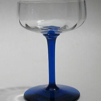 Blue stem glass dessert / champagne Crystal Made in USA Mt Pleasant PA optic