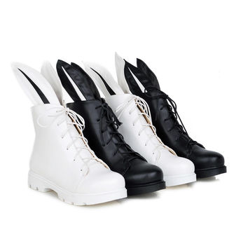 Rabbit Ear Lace Up Ankle Boots Women Shoes Fall Winter 6691