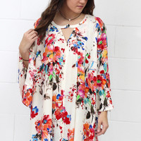 Watercolor Floral Keyhole Tunic {Red Mix}