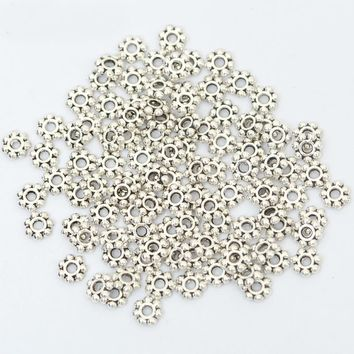 200pcs 6mm Daisy Flower Gold Silver Color Spacer Loose Metal Beads For Jewelry Making Diy Bracelet Accessories Needlework Supply