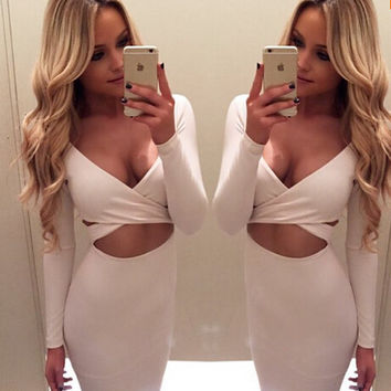 Women's Long Sleeve Winter Night Club Wear Deep V Bandage Bodycon Party Hollow Out Dress
