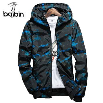 Spring Mens Casual Camouflage Hoodie Jacket Men Waterproof Clothes Men'S Windbreaker Coat Male Outwear Plus Size 4XL