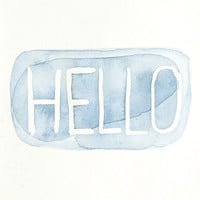 HELLO original modern minimalist watercolor painting