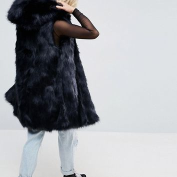 Parka London Phoeve Hooded Faux Fur Vest at asos.com