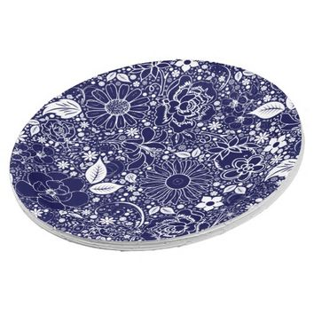 Botanical Beauties Blue white PAPER PARTY PLATES