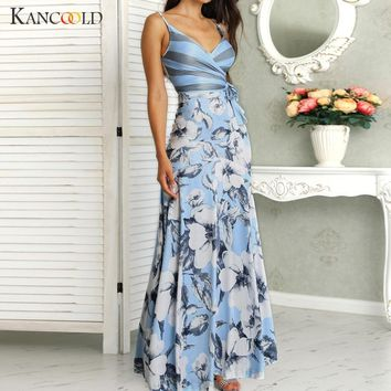 KANCOOLD dress Women Casual Floral Print Wrapped Tied Side Maxi Summer Dress V-Neck sashes fashion new dress women 2019jun11