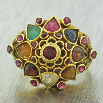 1960s Vintage 14k Yellow Gold Garnet Ruby Sapphire Diamond Citrine Cluster Ring