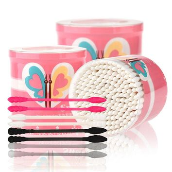 Bynanda 200pcs/box Makeup Cotton Swab Disposable Double Head Makeup Cotton Swabs Cotton Buds Ear Clean Tools Cosmetic Tools