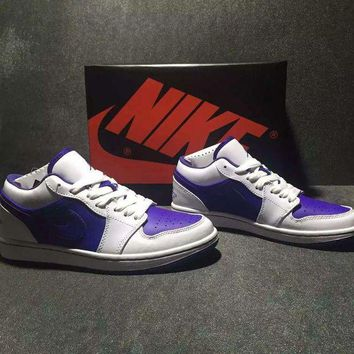 DCCKIJ2 Men's Nike Air Jordan 1 Retro Low Leather Basketball Shoes White Purple