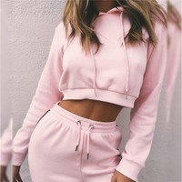 Pure Color Straps Hoodie with Pants Two Pieces Set