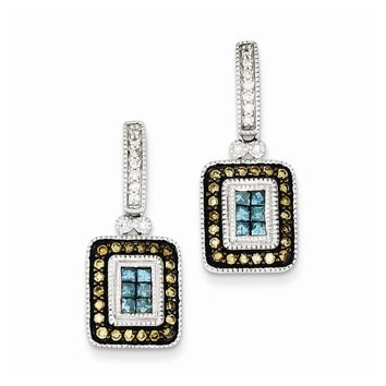 Sterling Silver Antiqued Dangle Square White, Champagne & Blue Diamond Earrings
