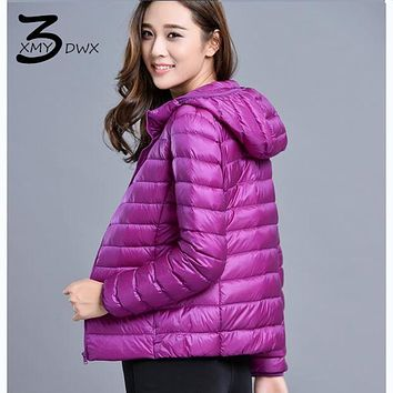 XMY3DWX  New 2017 Winter Autumn Down Coat Women Ultra Light hooded slim Fit Down Jacket Ladies 90% White Duck Down Parkas