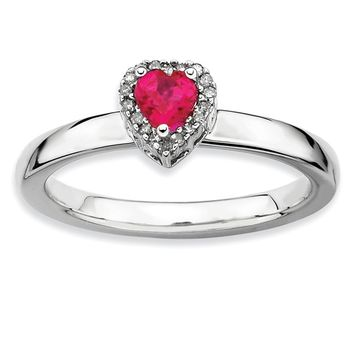Sterling Silver Created Ruby & 1/20 Ctw Diamond Stackable Heart Ring