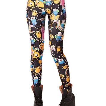 Black Adventure Time Print  Leggings