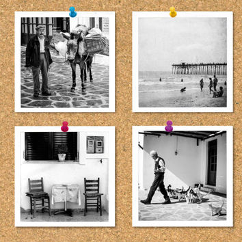 Square print set, set of 4 black and white photographs, travel photography, vintage photos, Greece, beach, square gift set, small photo set