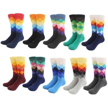 Male Socks Gradient Color Summer Style Cotton Wedding Sock Men's Knee High Business Socks 10 Colors