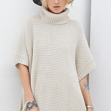 FOREVER 21 Turtleneck Poncho Sweater