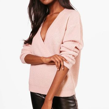 Millie Plunge Wrap Over Soft Knit Jumper | Boohoo