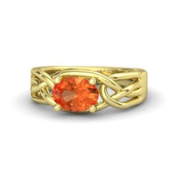 Oval Fire Opal 14K Yellow Gold Ring