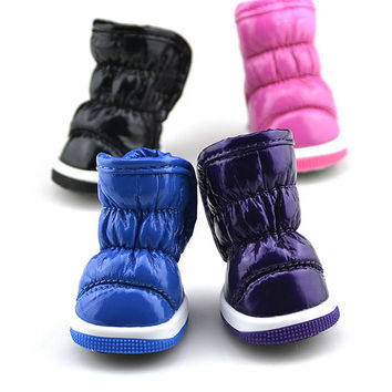 Small Dogs Puppy Pets Winter Soft Synthetic Leather Anti-slip Boots Shoes XS-XL