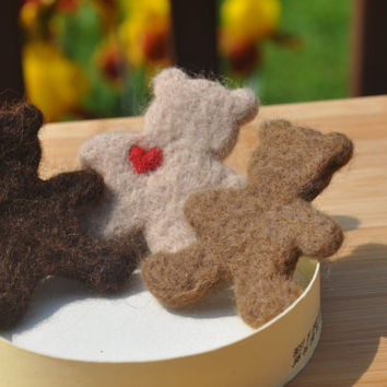 Felted Teddy Bear, can be made into a brooch, pin, magnet, ornament, hair clip, craft supply, fidget, toy. Wool teddy bear
