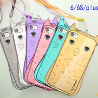 Lovely cat transparent phone case for iphone 5 5s SE 6 6s 6 plus 6s plus + Nice gift box 072301