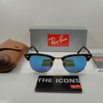 RAY-BAN CLUBMASTER SUNGLASSES RB3016 114517 TORTOISE/BLUE FLASH LENS 49MM