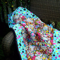 "Girls Brown Pink Turquoise"" Polka dot Paisley flower goodness"" baby toddler crib quilt backed with chenille and handmade by LeeLee"