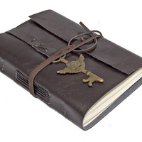 Faux Leather Wrap Journal with Winged Clock Key Bookmark - Choice of 6 colors