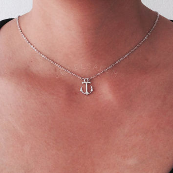 Small Silver Anchor Necklace Graduation Gift Christmas Best Friends Bridesmaids BFF Simple Chic Elegant Simplistic Modern C1
