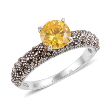 Cubic Zirconia Marcasite Sterling Silver Ring