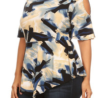 Plus Size Abstract Angle Hem Top