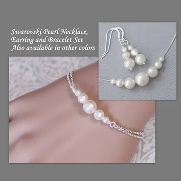 CUSTOM BRIDAL JEWELRY Swarovski White Pearl Bridal Necklace, Earring and Bracelet Set in Sterling Silver Setting, Bridesmaid Jewelry