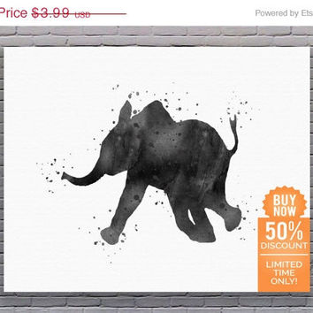 Elephant Art Print Baby Elephant Art Elephant Poster Baby Elephant Print Watercolor Printable Watercolor Wall Art Digital Download Art