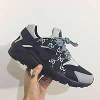 Sale Gucci x Nike Air Huarache 1 Men Women Mesh Hurache Grey Sport Running Shoes Casual Shoes Sneakers
