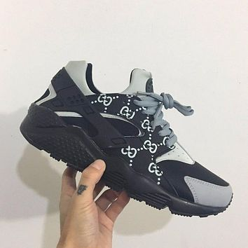 Best Online Sale Gucci x Nike Air Huarache 1 Men Women Mesh Hurache Grey Sport Running