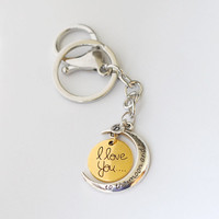 I love you to the moon and back keychain, Personalized initial love forever keychain jewrlry, Graduation gift fathers day gift for dad
