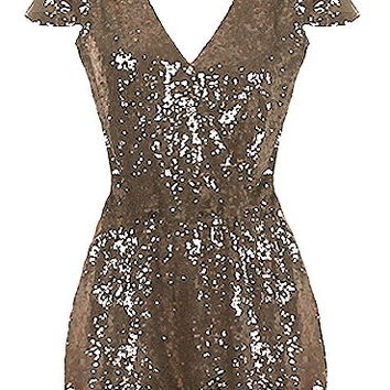 Sparkle Box Romper | Gold Sequin Cap Sleeve Onesuit Playsuit | RicketyRack.com