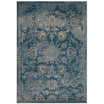 Cynara Distressed Floral Persian Medallion 8x10 Area Rug Silver Blue, Teal and
